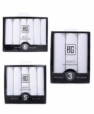 BG Men's White Cotton Handkerchief Set (BGHB)