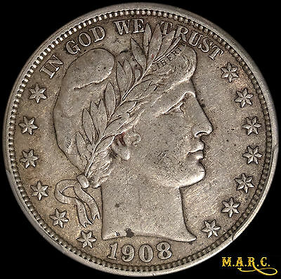 1908-D XF40 PCGS 50C Barber Half Dollar, Nice Type Coin!1 Free Shipping, MARC