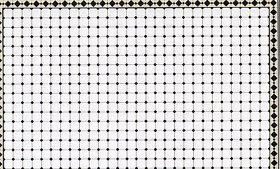 BLACK & WHITE TILES PAPER SHEET 44 x 30 cm FOR DOLLS HOUSE IN 12th SCALE, NEW