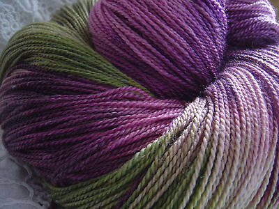 """Hand Dyed: Seacell Merino SeaWool 2/6 """"Rosewood Moss"""" 100 mt/ 10 avail"""