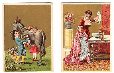 """Lot of (2) Victorian Trade Card Lavine Advertising Size 4 1/4"""" x 3"""" Very Nice!"""