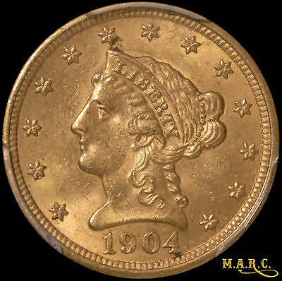 1904 MS63 PCGS 2.5$ Gold Liberty Quarter Eagle, Bright and Lustrous!! F/S MARC