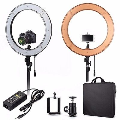 "UK Seller! 18"" Quality LED Dimmable Photo Video Ring Light Kit -for DSLR & Phone"
