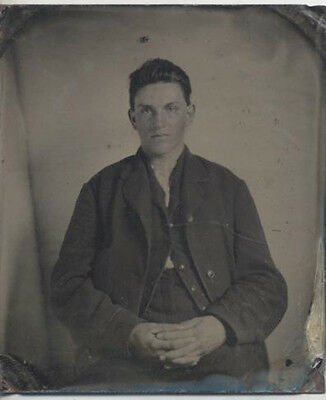 Sharp Tintype Portrait Of Handsome Young Man