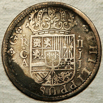 Spain Silver 2 Reales 1721 (Slightly Bent But Nice Details)