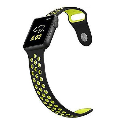 Apple Watch Band 42mm Soft Silicone Sport Replacement Large/Medium Vintage Black