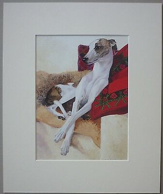 Whippet By Vivienne Rainsbury Art Card Dog Print Mounted 12 X 10""