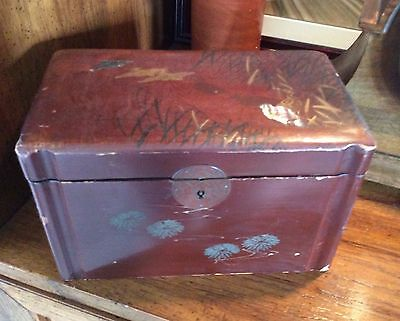 Old Chinese Lacquer Tea Caddy, Iridescent Inlay Kingfisher Birds, Chrysanthemum