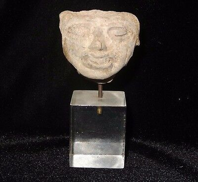 Antique Pre Columbian Pottery Face Head Bust Latin America Mexico Mayan Statue