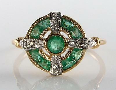 Lovely 9Ct 9K Gold Colombian Emerald Diamond Art Deco Ins Ring Free Resize