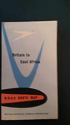 Vintage Airline - BOAC Route Map Britain To East Africa  - B.O.A.C. 1950s