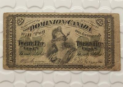 Dominion of Canada 1870 25 Twenty Five Cents Fractional Currency Note D646D