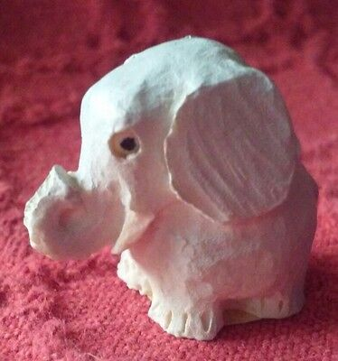 Tiny wooden elephant carving made in Scotland collectors miniature grey