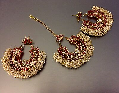 new pakistani/indian bollywood costume jewellery  earrings with tikka Red Set