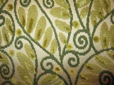 Vtg Mid Century Fabric CHENILLE Tapestry Upholstery Green Vines Leaves 54w X 136