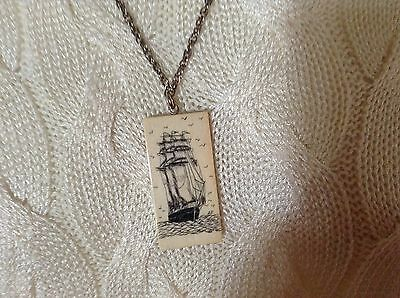 Scrimshaw Sailing Ship on Bone Pendant & Chain Signed Initials AF