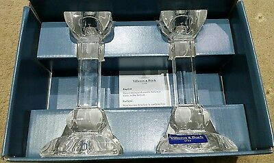 Pair of Villeroy & Boch SIENA Lead Crystal Candlesticks. (New in a box)