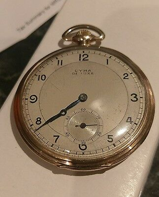 Vintage Cyma Deluxe Gold Filled Open Faced Pocket Watch Working