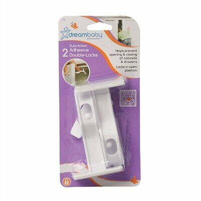 Dreambaby Cabinet Door Drawer Adhesive Double Child Safety Locks 2pk - L147