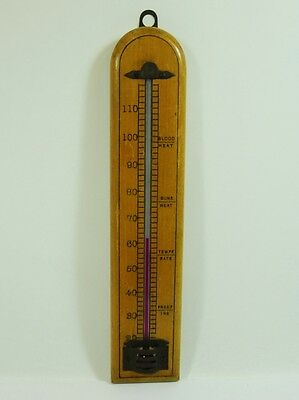 Vintage Wood and Brass Wall Thermometer - Fahrenheit 1940-1950's