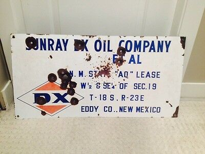 DX Sunray Oils Oil Lease Sign Porcelain advertising Vintage New Mexico USA
