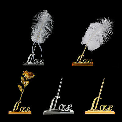 Wedding Guest Book Signing Pen Flower Feather Love Words Holder Party Favor Gift