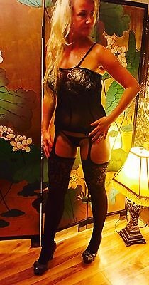 Luxurious S M L XL 8 10 12 14 Bodysuit Catsuit Bodystocking Lingerie Lace