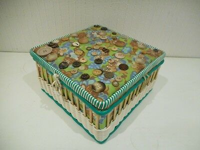 Vintage Sewing Box with Buttons Sewn on the Lid - Flower Power - Retro - Funky