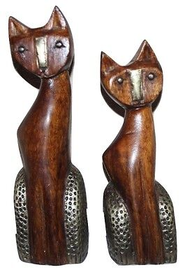Vintage Pair   Carved Wooden Cat Ornaments   Figurines   Retro Shelf Sitters