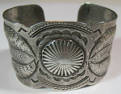 Early 1900's Navajo Ingot Coin Silver Repousse Wide Cuff Bracelet