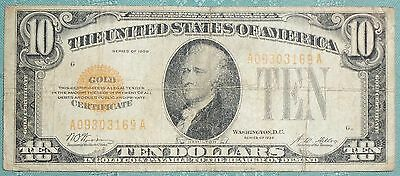 1928 $10 Ten Dollars Gold Certificate Currency Note