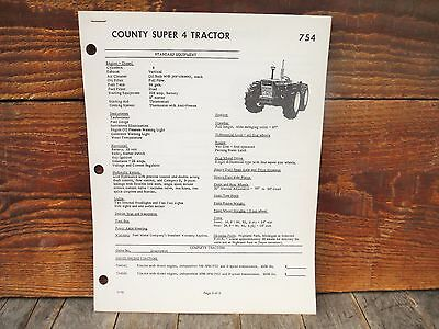 Vintage Ford County Super 4 And Super 6 Tractor Sales Literature Brochure