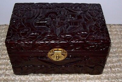 """Vintage Oriental Asian Carved Relief Wood Box Felt Lined Brass Clasp 5 1/2"""" x 9"""""""