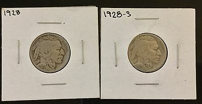 1928 & 1928-S Buffalo Nickel USA Indian 5 Cents 2 Coins Good