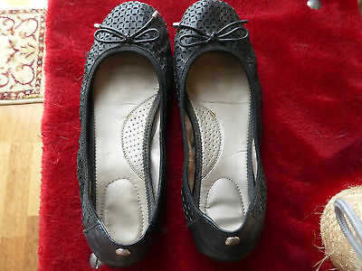 "Sandler Black Leather  Flats Shoes ""Wendy""  Size 8.5"