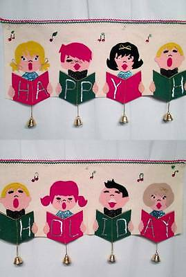 Vintage Christmas Banner Choir HAPPY HOLIDAY Felt Sequins BELLS Long 12x49