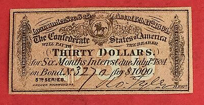 1864 $30 US Confederate States of America! Choice XF! Genuine! Old US!
