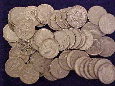 ROLL OF (50) CIRCULATED 90% SILVER ROOSEVELT DIMES, MIXED DATES & MMs