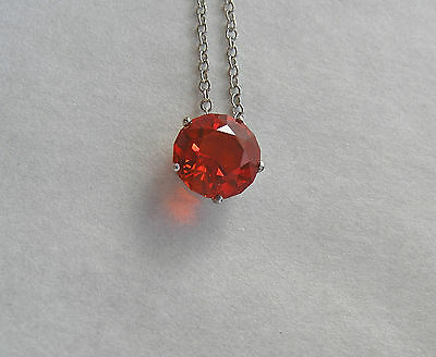 Exceptional Untreated Red Orange Mexican  Fire Opal 14K White Gold Necklace