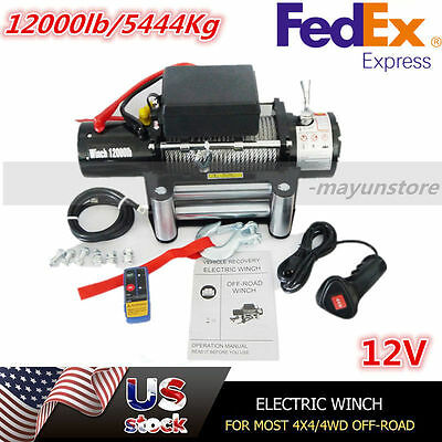 12000lb 12V Electric Recovery Winch for Truck SUV Trailer Wireless Remote US @K~