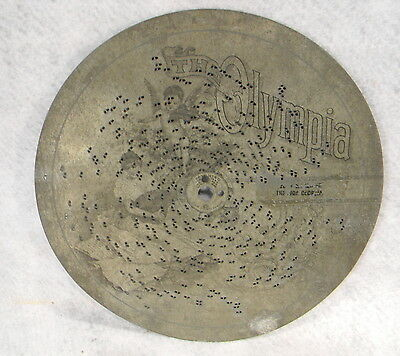 "Rare 8 7/8 Inch Antique Olympia Music Box Disc ""title Unknown"""