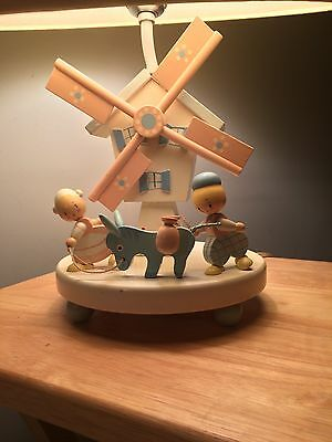 Vintage Musical Brahms Lullaby Nursery Wooden Table Lamp Night Light Baby Child