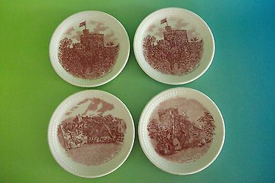 Set Of Four (4) Old Britain Castles Pink Transferware Coasters By Johnson Bros E