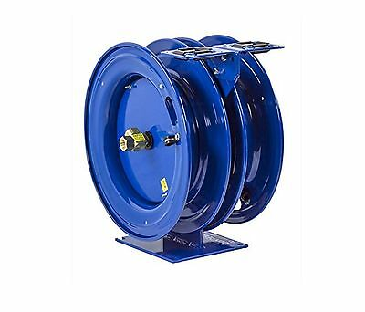 "Coxreels Self-Retractable Dual Hose Reel Air Water Oil 50' 3/8"" ID 300 PSI"