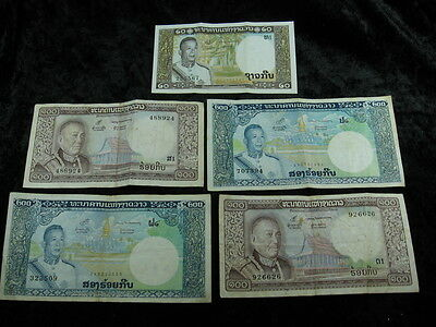 5 assorted old world foreign currency banknote money lot LAOS kip