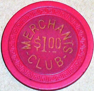 Old $1 MERCHANTS CLUB Illegal Casino Poker Chip Vintage Antique Small Key Mold