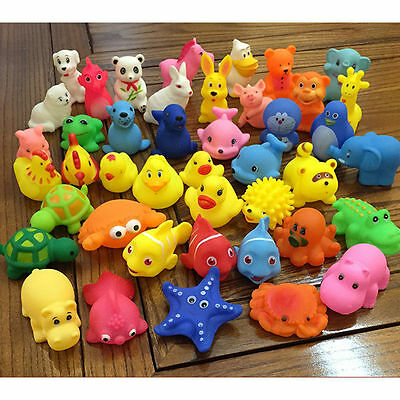 Cute 10pcs Baby Bath Toys Rubber Squeaky Animals Water Float Soft Sqeeze Sound