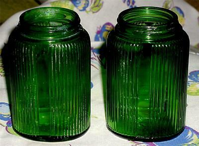 2 Vintage 1936 Owens-Illinois Hoosier Forest Green Glass Oval Kitchen Lg Shakers