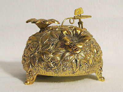 Japanese Gold Flower Cluster Music Box (Evergreen) Westland WORKS! no Butterfly