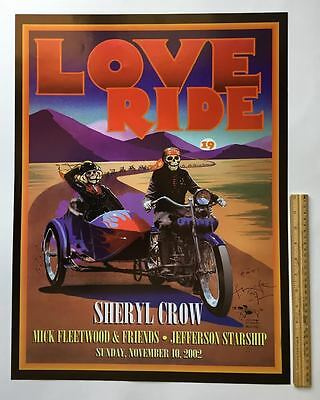 """MINT 2002 Mouse SIGNED""""LOVE RIDE""""Harley Poster~Jefferson Starship/M. Fleetwood"""